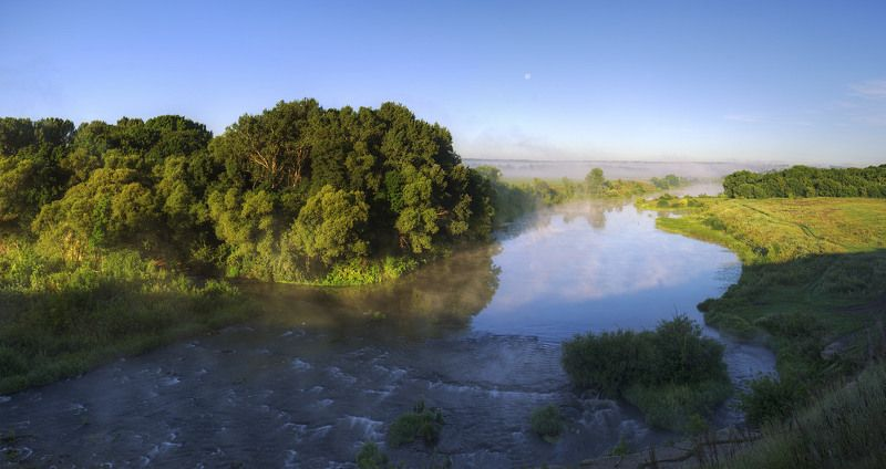 пейзаж, природа, лето, река, рассвет, утро, россия, туман Blissphoto preview
