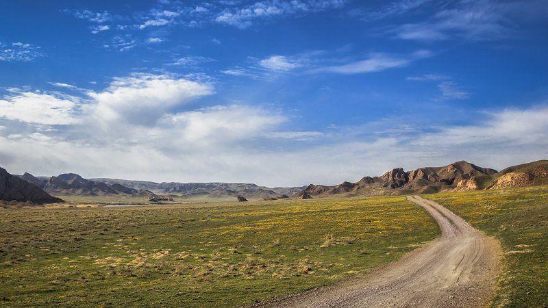 Казахстан, Река, Дорога, Тамгалы, Тас, Или,  Тамгалы Тасphoto preview