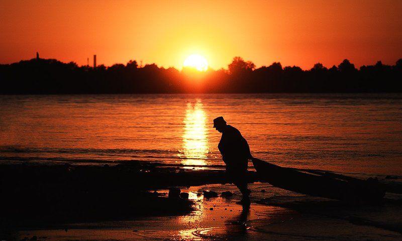Вода, Закат, Лодка, Нева, Санкт-петербург, Солнце, Человек ***photo preview