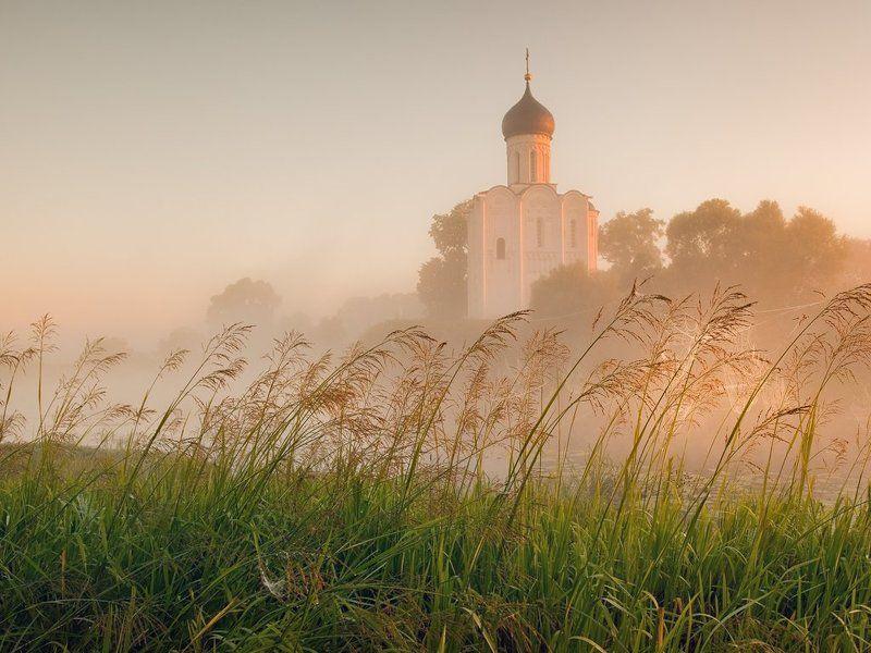 Покрова, Нерль, Боголюбово, рассвет, туман, храм,церковь Сон уходит, как туманphoto preview