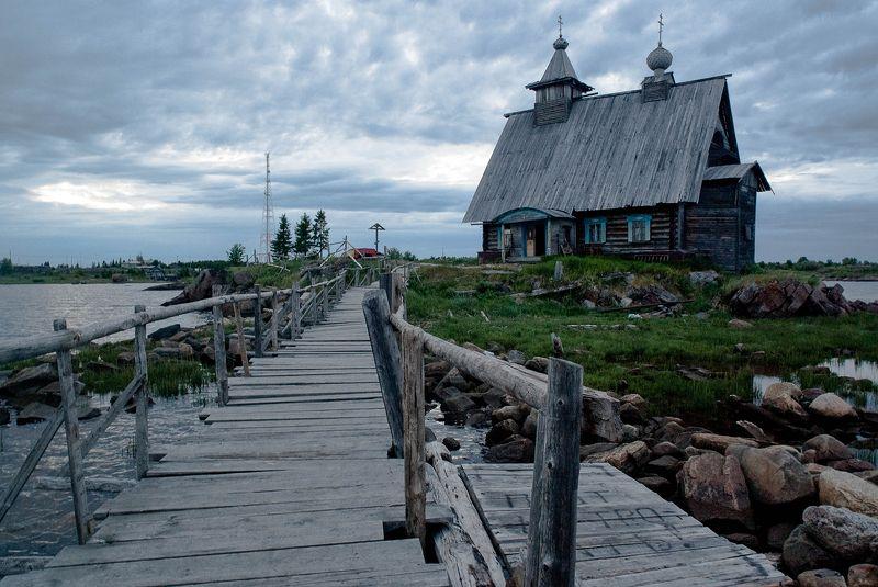 Island, White sea, landscape, seascape, church, bridge, wooden, sky, grey, blue, Russia Islandphoto preview