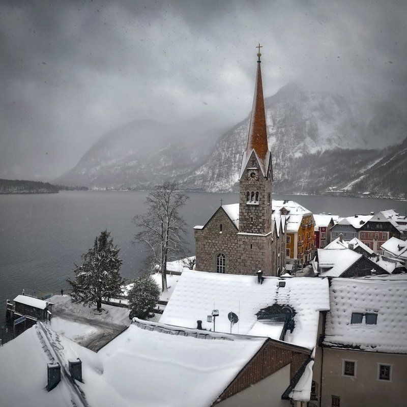 Austria, Church, Hallstatt, Lake, Old, Winter Hallstattphoto preview