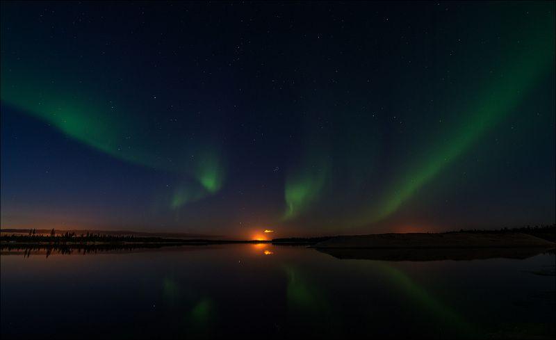 Пейзаж, Река, Северное сияние, ЯНАО Северная  Аврораphoto preview