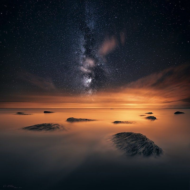 Lough Neagh, Northern Ireland, milky way, night, stars, sky, travel, stones, water, lake, clouds Lough Neagh photo preview
