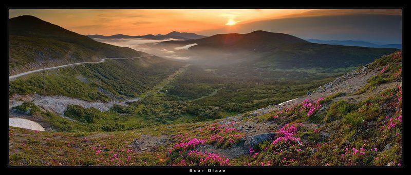 магадан, первый арманский перевал Туман неспешно подбирался к низине сопок вековыхphoto preview
