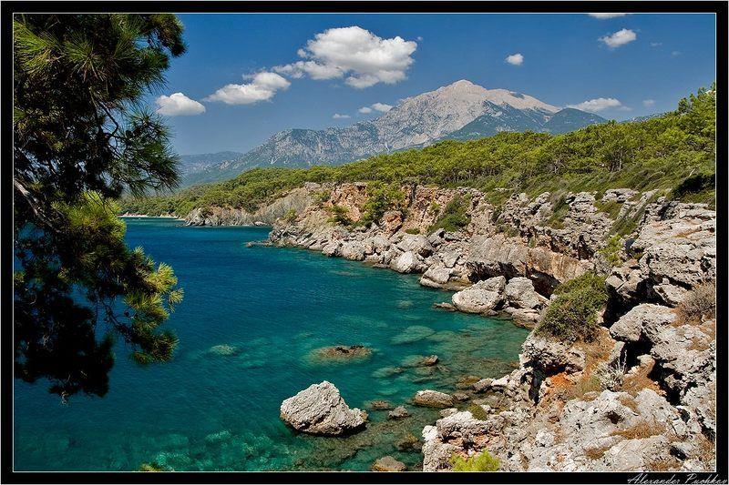 турция, кемер, море, бухта, горы, пейзаж ***photo preview