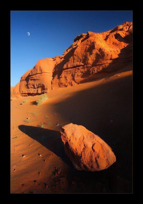 монголия, песок, луна, рассвет Утро в Красном каньонеphoto preview