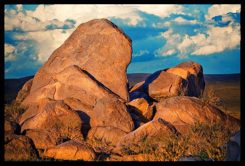 камни, монголия, закат каменные душиphoto preview