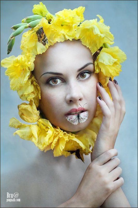 девушка, лето, цветы, бабочки ЛЕтоphoto preview