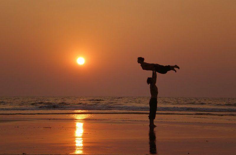 acroyoga ,goa, sunset, акройога, гоа, закат photo preview