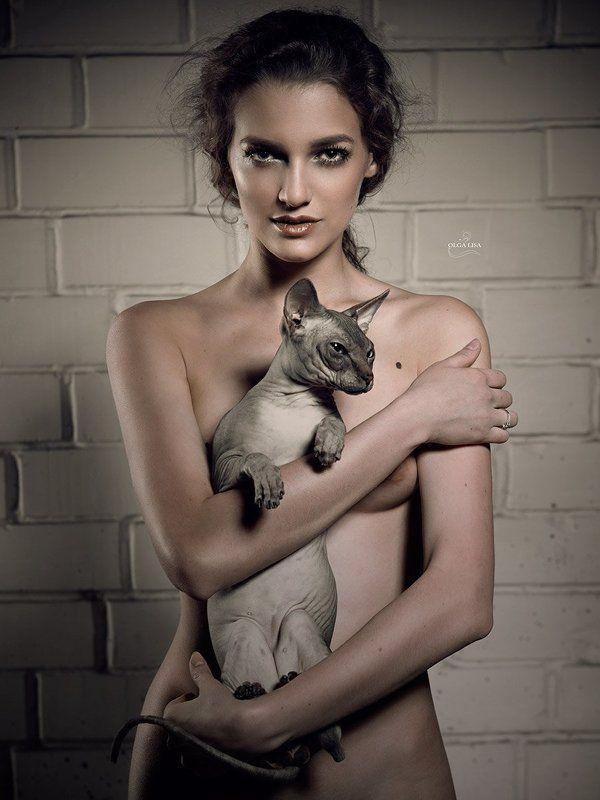 Art, Cat, girl, Nude, Sphinx CATSphoto preview
