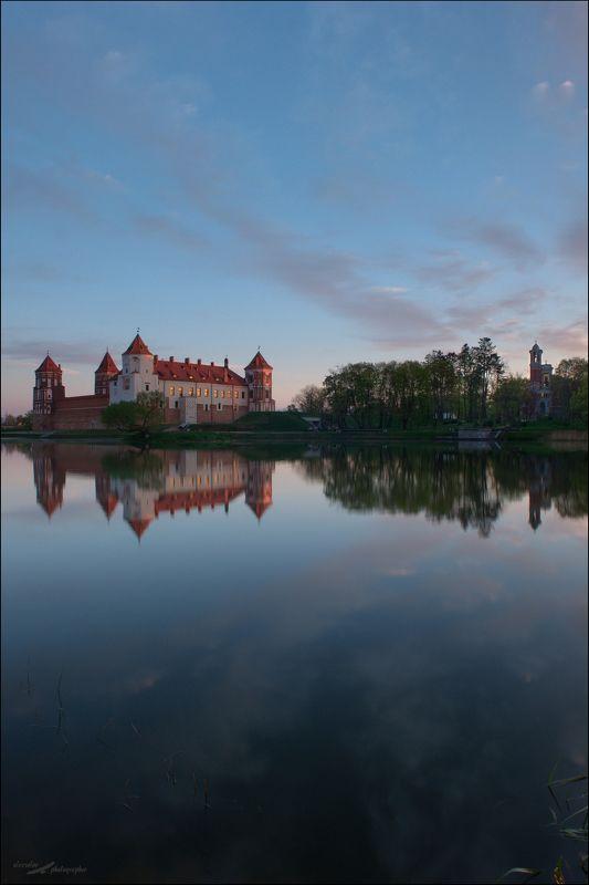 Мир, Белоруссия, Замок, Отражение, Рассвет Мирский замокphoto preview