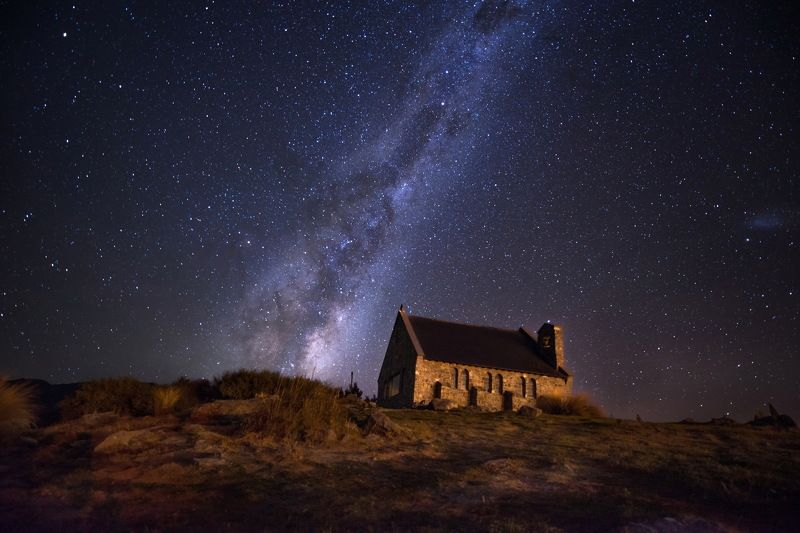 Lake Tekapo, New Zealand, Horizontal, Landscape, Night, Church, Beauty In Nature, Built Structure, Celebrities, Christianity, Church Of The Good Shepherd, Color Image, Grass, Milky Way, Nature, No People, Outdoors, Photography, Sky, Tekapo, Tranquility, T  Church of the Good Shepherdphoto preview