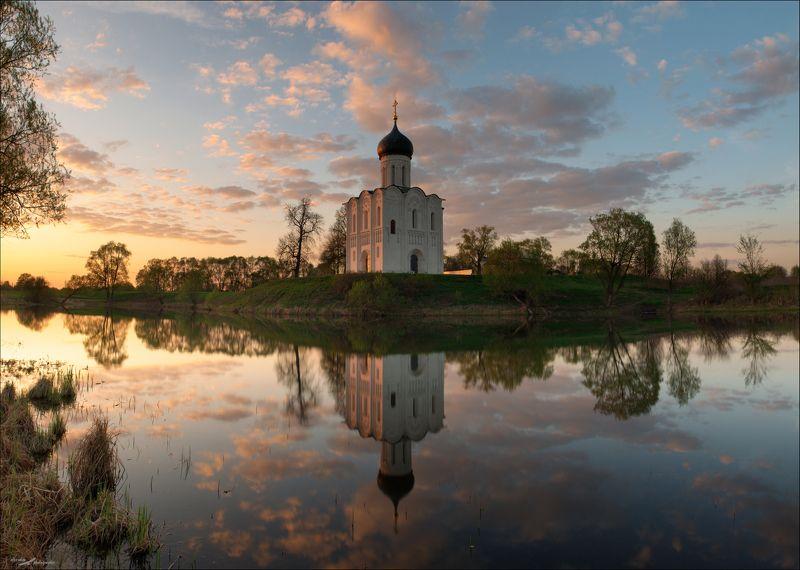 Закат, Церковь, Боголюбово, Покрова на Нерли Закат в Боголюбовоphoto preview