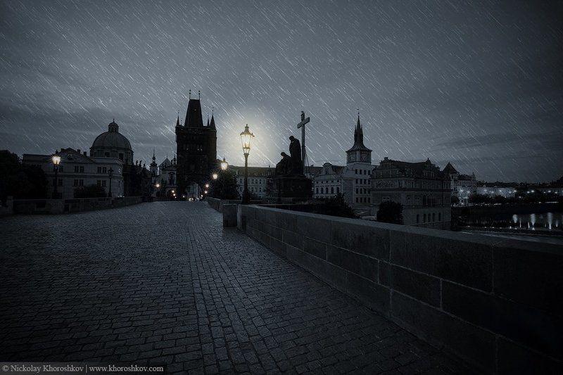 Архитектура, Город, Городской пейзаж, Прага, Чехия Полночь в Прагеphoto preview