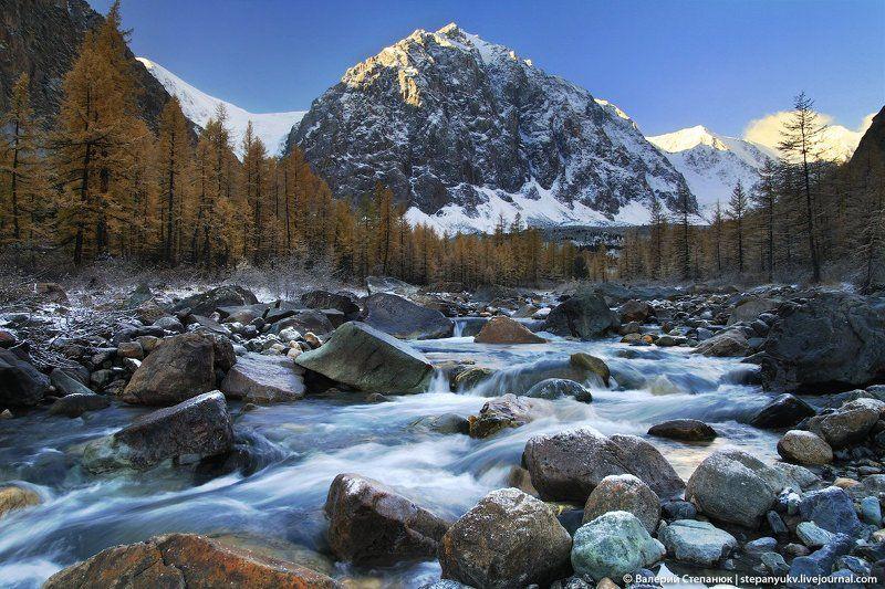 алтай, горы, река, снег, вода Долина Актру, Алтайphoto preview