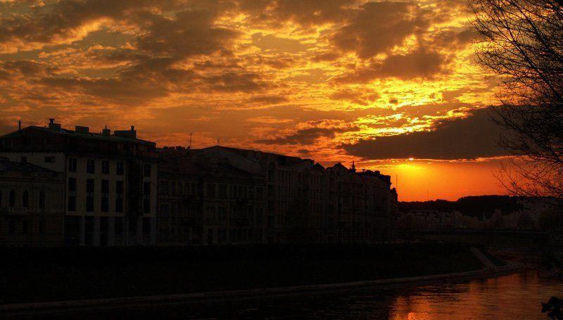 закат, набережная, вильнюс Городской...photo preview