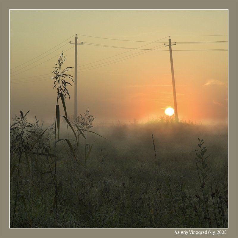 пейзаж, утро, восход, поле, столбы По дороге на Арзамас...утро...photo preview