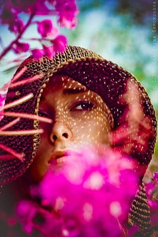 девушка, иван-чай, лето, цыеты, портрет иван-чайphoto preview