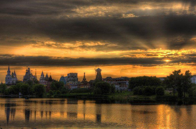 закат, озеро, солнце, мельница, сказка photo preview