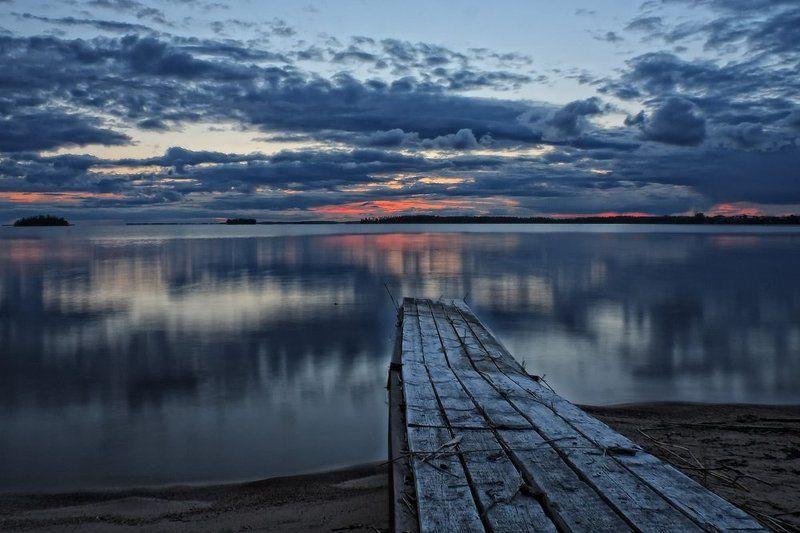 карелия, полночь, закат, озеро, белые ночи В полночьphoto preview
