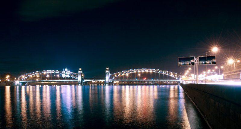 большеохтинский мост,смольный,нева,ночь, Большеохтинский мостphoto preview