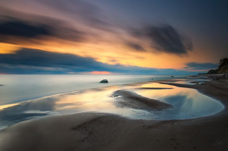 Baltic sea, Clouds, Evening, Landscape, Long exposure, Sea Морские линииphoto preview