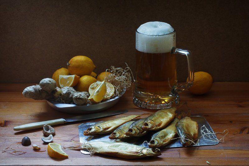 натюрморт, пиво, эль, имбирь, лимоны, рыба, вяленая рыба, октоберфест,  Про лимонно-имбирный эльphoto preview
