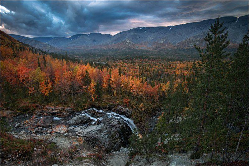 Водопад, Горы, Кольский полуостров, Хибины пейзаж Осень в Хибинах.photo preview