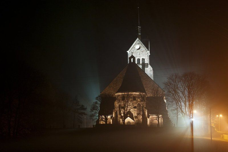костел, туман, ночь, Бродить в туманеphoto preview