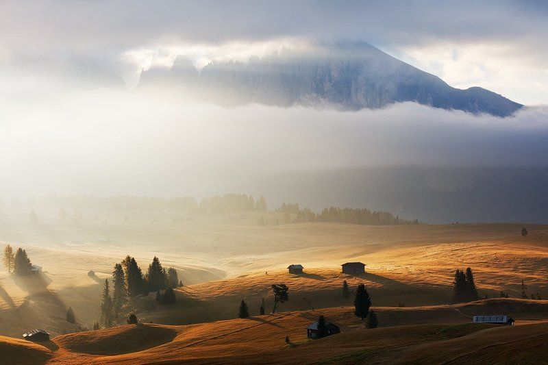 Autumn, Clouds, Dolomites, Europe, Fall, Fog, Huts, Light, Mist, Morning, Mountains, Peaks, Trees Morning Lightphoto preview