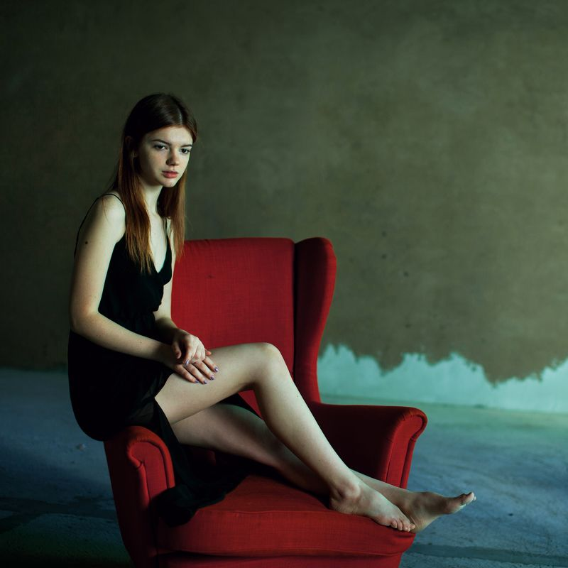 Color, Girl, Mood, Muse, Natural light, Portrait red chairphoto preview