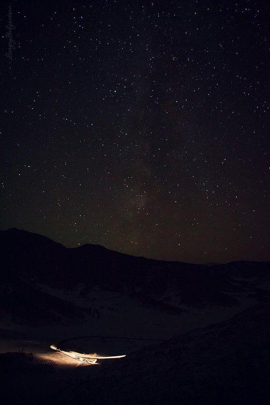 горный, Алтай, перевал, Чике-Таман, Чуйский тракт, Онгудайский, район, горы, небо, ночь, звёзды, Млечный путь Над Чике-Таманомphoto preview