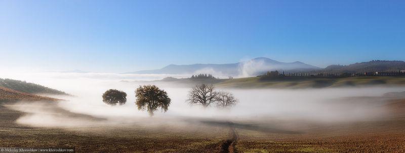 Тоскана, Италия, пейзаж, панорама, природа Реки туманаphoto preview