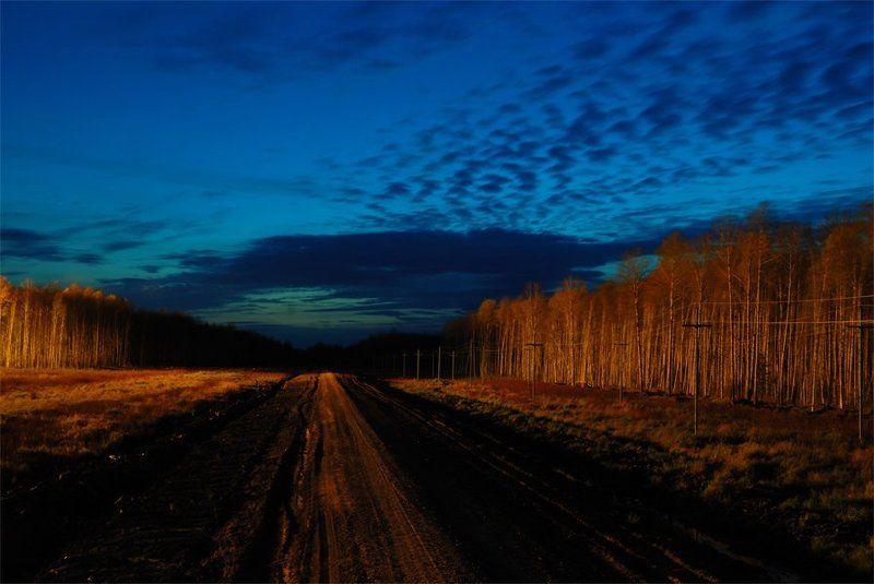 дорога, вечер, небо, форма Дорог такаяphoto preview