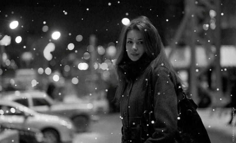 зима, ночь, снег, красивая, девушка photo preview