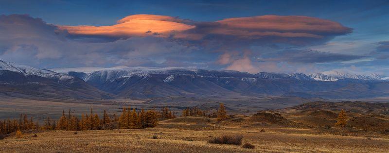 закат, осень, алтай, горы, лиственница, лентикулярное, облако ЗАКАТ НАД КУРАЕМ.photo preview