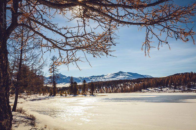 горный, алтай, улаганские, перевал, озеро, киделю, зима, снег, горы, вершины, лёд Киделюphoto preview