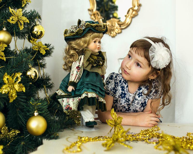 Девочка, Ёлка, Кукла, Новый год photo preview