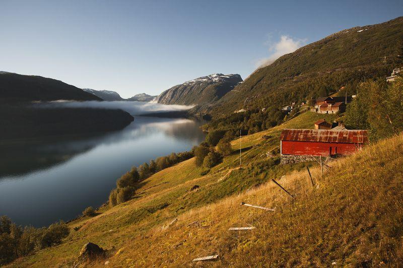 природа, Норвегия, пейзаж, утро, деревня, фьерд Осеннее утро на берегу фьорда.photo preview