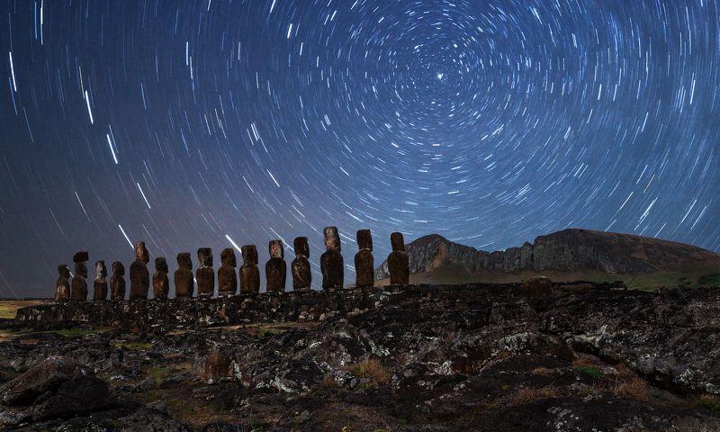 остров пасхи, звезды, ночь, путешествие Звездная карусель.photo preview