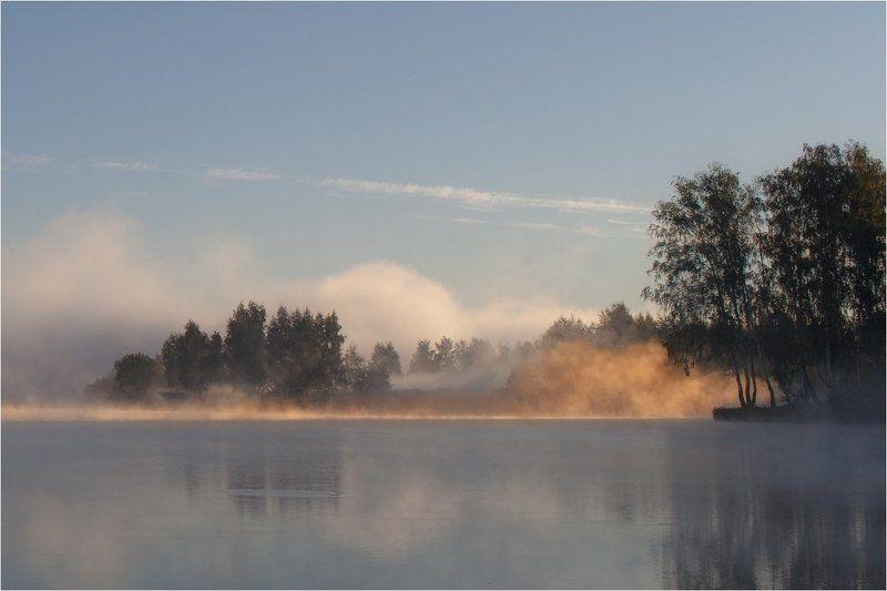 Лето, Озеро, Природа, Рассвет, Туман Солнечный огоньphoto preview