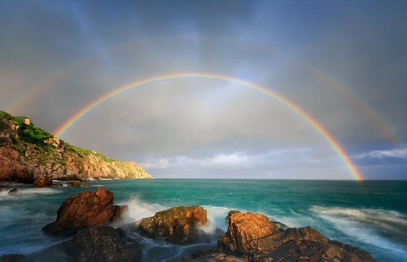 Rainbow over Vinh Hy Bay, Ninh Thuan, Vietnam.photo preview