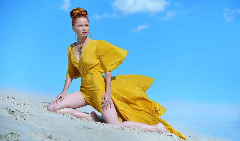 fashion, girl, beauty, девушка, природа, песок, красота, мода noon Green Eyephoto preview