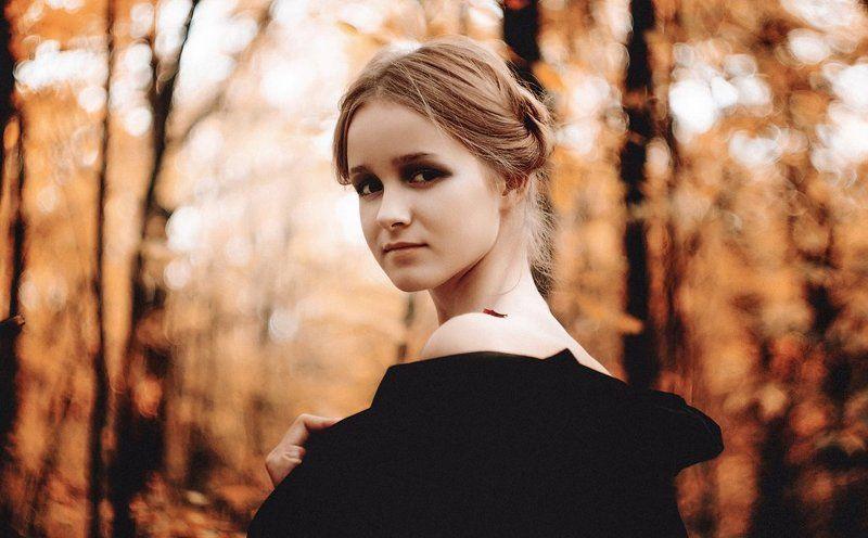 девушка, осень, портрет, лес, ***photo preview