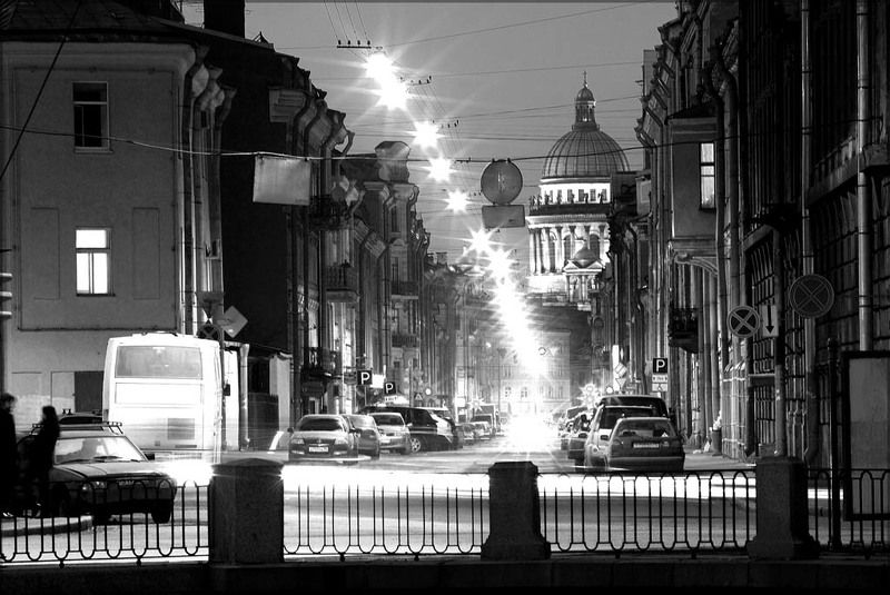 санкт-петербург, иссакиевский собор,вечер Сжатое пространствоphoto preview
