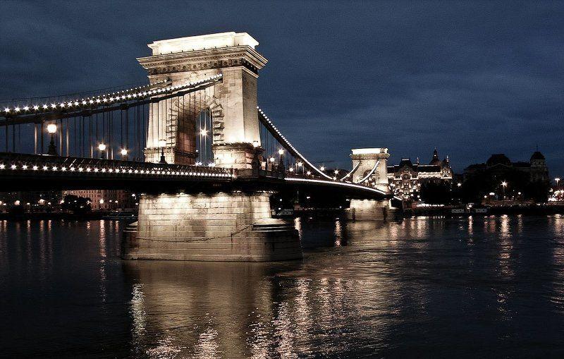 budapest, at, night, chain, bridge Budapestphoto preview