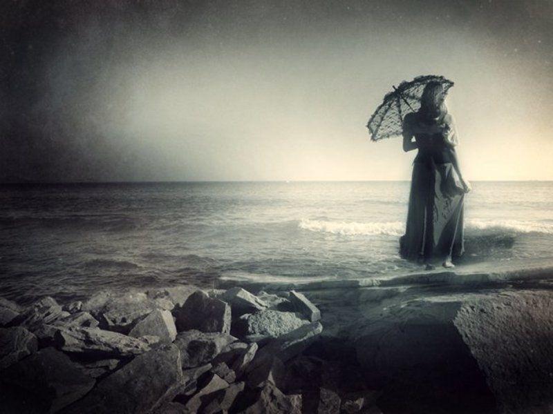 девушка, море, ожидание, ветер, буря waitingphoto preview