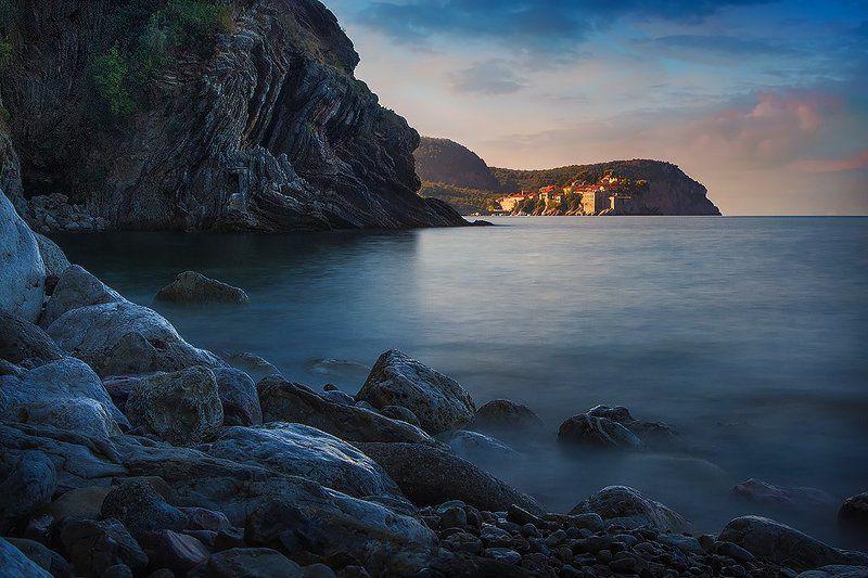 черногория, рассвет, море, камни Бастионphoto preview