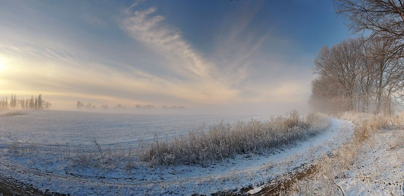 Fog, Frost, Morning, Road, Snow, Winter, Дорога, Зима, Иней, Снег, Туман, Утро Frozen Morningphoto preview